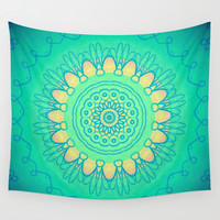 Teal Yellow Bohemian Mandala Wall Tapestry by Sheila Wenzel