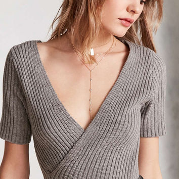 Silence + Noise Cam Ribbed Surplice Sweater Tee - Urban Outfitters