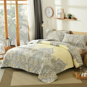 DaDa Bedding Bohemian Pale Daffodil Bedspread Set - Yellow Grey Floral Indian Medallion (C15205-7)