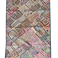 Mogul Vintage Tapestry Embroidered Patchwork Bohemian Kutch Throw Wall Hanging 75X 48