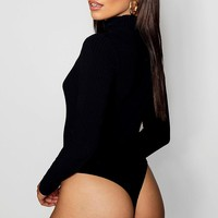 Turtle Neck Rib Long Sleeve Thong Bodysuit | Boohoo