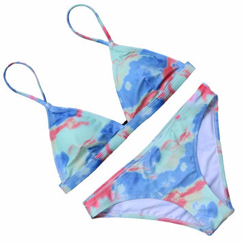 OMKAGI  Sexy Women Swimsuit Micro Bikini Set Bathing Suit With Halter Strap Push Up Swimwear Brazilian Bottom Maillot De Bain Femme 2017