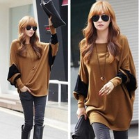 Pop Womens Oversized Crew Neck Batwing Sleeve Long Loose T Shirt Tops Tee Blouse
