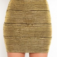 Gold body-con skirt- Mini Skirts- Wow Couture- $39.99