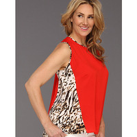 Calvin Klein Plus Size Colorblock Top w/ Print Tango Red - Zappos.com Free Shipping BOTH Ways