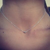 100% Sterling Silver Tiny Beaded Heart Charm Necklace/Choker. Petite and dainty.