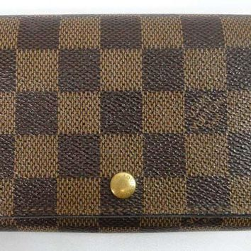 Auth Louis Vuitton Damier Leather Purse Porte Zipper Lock Coin Bifold Wallet