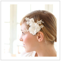 Satin blossom hair pin  white beaded satin petals on by woomi