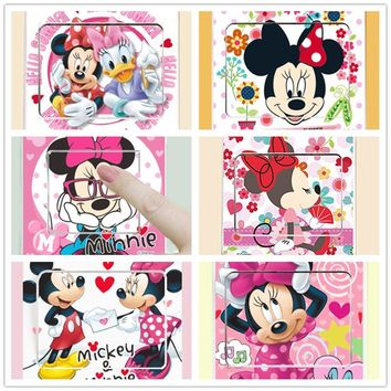 Removable 6 STYLE Mickey Mouse Minnie Wall switch sticker decoration home stickers DIY kids bedroom art decal