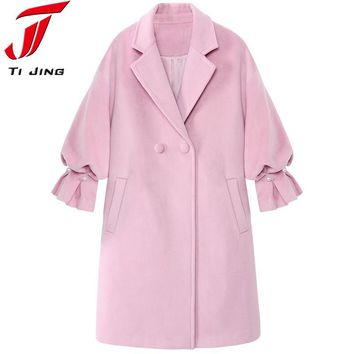 2017 New wool long thick coat jacket Women warm winter coat turn-down coat Casual Long Outerwear lady manteau femme abrigos L370