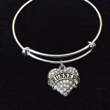 Runner Crystal Heart Charm on Silver Bracelet Expandable Adjustable Wire Bangle Finish Line Gift Trendy
