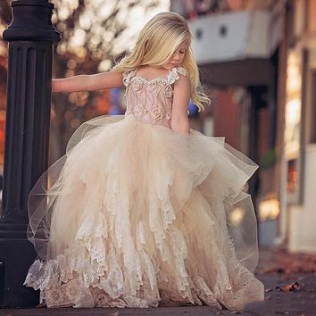 2016 New Champagne Ball Gown Flower Girl Dresses For Weddings Lovely Tiered Tulle Lace Applique Dreamlike Pageant Gowns For Kids