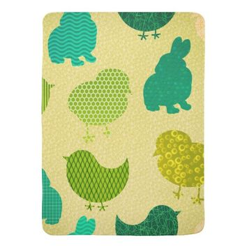 Lemon Lime Easter Chicks Texture Baby Blanket