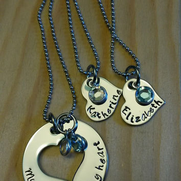 Hand Stamped Necklace My Girls Have My Heart - Mother Daughter necklace - My Daughters Have My Heart - Set of 3 Necklaces