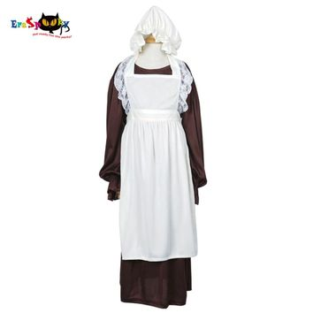 Victorian Maid Cosplay Costume Girls Maid Dress Long Sleeve Dresses Skirt for Children with White Apron Bonnet Party Halloween