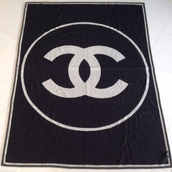 CHANEL TOP BLACK WHITE CC CASHMERE XL BLANKET THROW BODY SCARF NEW IN BOX N BAG