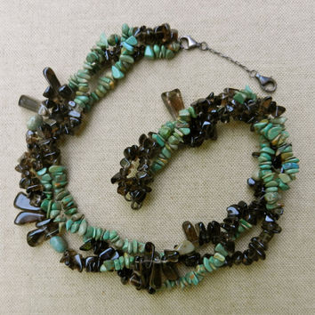 OOAK Vintage, Boho, Woodland, Gypsy, Triple Strand Apache Tears And Green Turquoise Nugget Necklace With Sterling Silver Chain and Clasps
