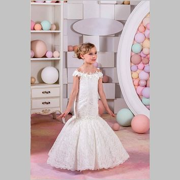 New Style 2017 Little Mermaid Flower Girl Dresses Lace Appliques Off-the-Shoulder Girls Pageant Party Dress