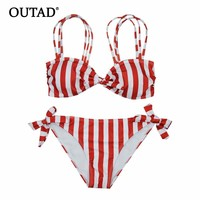 OUTAD Unique Stripe Swimwear Women Bikini Set Sexy Swimsuit With Bowknot Push-up Padded Bra Summer Bathing Suit Free Shipping