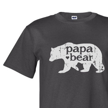 Father's Day gift - papa bear with heart - screen print tshirt -  graphic tee - new dad gift - grandpa to be gift - papa shirt
