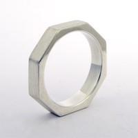 Octagonal Ring, Stackable Sterling Silver
