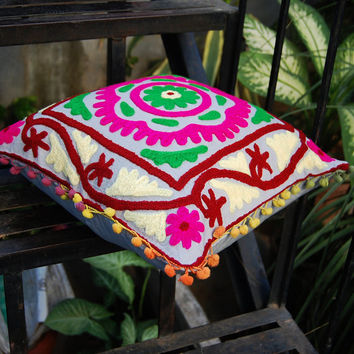 Pillow Cover Handmade Wool Embroidered Indian Pillows Christmas Gift Decorative Pillow Cute gift Royal Designer Ethnic Art Decor Hippie Boho