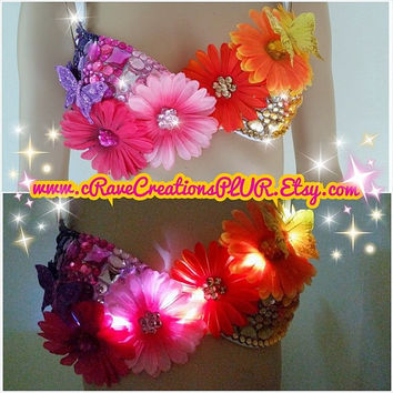 Bright Blossoms and Beautiful Butterflies with Optional LEDs that Light Up! Custom Rave Bra Bling EDC Ultra