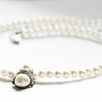 Pearl and Rhinestone Pendant Drop Necklace