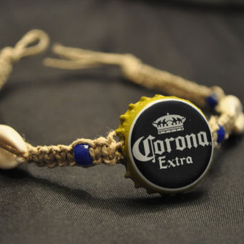 Blue and Yellow Corona Extra Recycled Beer Cap Hemp Anklet with cowrie shells - Beach, surfer, summer accessory