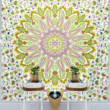 Jinda Mandala Bohemian Boho Yellow Green Mix Wall Bed Tapestry