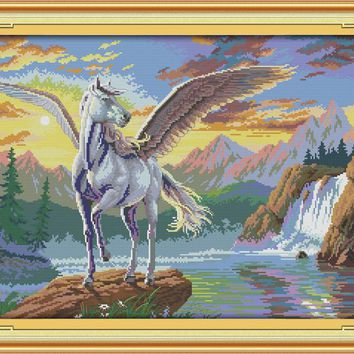 Flying Horse Animal Canvas DMC Cross Stitch Kits Accurate Printed Embroidery DIY Handmade Needle Work Wall Set Art Home Decor