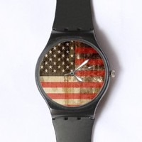 Custom Vintage American Flag Watches Classic Black Plastic Watch WT-0767
