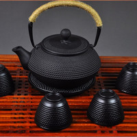 Fedex FREE SHIPPING 900ML Kungfu Tea pot Japanese Cast Iron Teapot set with 4 cups and 1 pot mat, Iron Bottle, Kettle, Tea Set