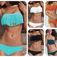 Hot Sale Swimwear Women Padded Boho Fringe Bandeau Bikini Set New Swimsuit Lady Bathing suit = 1946101252