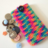 iPhone 5 sleeve, Crochet Phone Sleeve, Rainbow iPhone 4s Sock with Black Button, Neon phone case, Pink Blue Phone Cozy