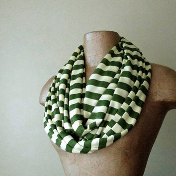 Striped Infinity Scarf - Avocado Green, Pale Yellow Stripes - Womens Loop Scarf - Striped Circle Scarf
