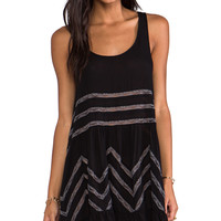 Free People Lace and Voile Trapeze Dress in Black