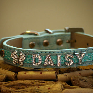 Leather dog collar, Beaded Collar with 5  Personalized Rhinestone Letters and Rhinestone Butterfly- Dog Collar