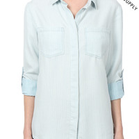 THREAD & SUPPLY PREMIUM DESIGN Womens Chambray Button Front Stripe Shirt (CLEARANCE)