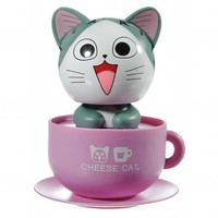 MaxSale Purple Bottom Green Swing Waving Head Cheese Cat Solar Power Toy