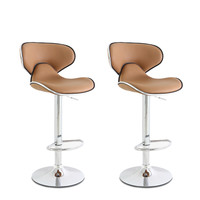 Adeco Coffee-Color Cushioned Leatherette Adjustable Barstool Chair, Curved Back, Chrome Finish Pedestal Base (Set of two)