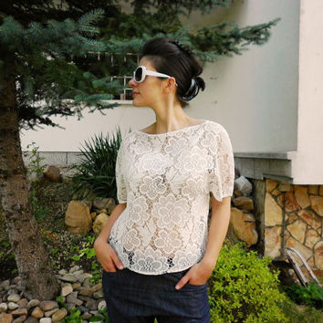White Lace Top / Loose Blouse/ Summer Beach Top / Party Evening Blouse / Casual Elegant Shirt by moShic B001