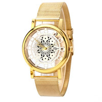 Woman Watches Gold Silver Dress Clock Ladies Phoenix Mechanical Hollowout Stainless Steel Relogio Feminino CF