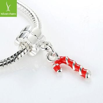 TOP Quality 925 Silver Red Stick Christmas Charm Beads Fit Pandora Bracelet Chain For