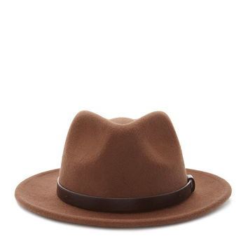 Faux Leather Ribbon Fedora | Forever 21 - 2000168009