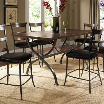 Hillsdale Cameron 7-Piece Counter Height Rectangle Wood Dining Set w/Ladder Back Stool
