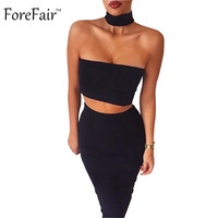 2 Piece Set Summer Dress 2016 Black White Strapless Sexy Bandage Bodycon Party Dresses Sleeveless Halter Dress Women with Zipper