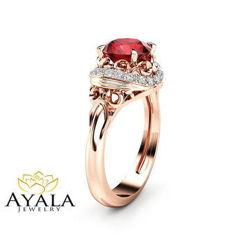 Modern Ruby Engagement Ring Diamond Alternative Unique 14K Rose Gold Halo Modern Ring