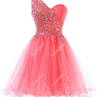 One Shoulder Beading Tulle Cocktail Dress/Homecoming Dress/Short Cocktail Dress/Prom Dress Graduation/Cheap Dress/A163