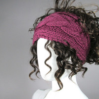 Knitted headband in Purple, Earwarmer, Head Band, Chunky knitted Headband